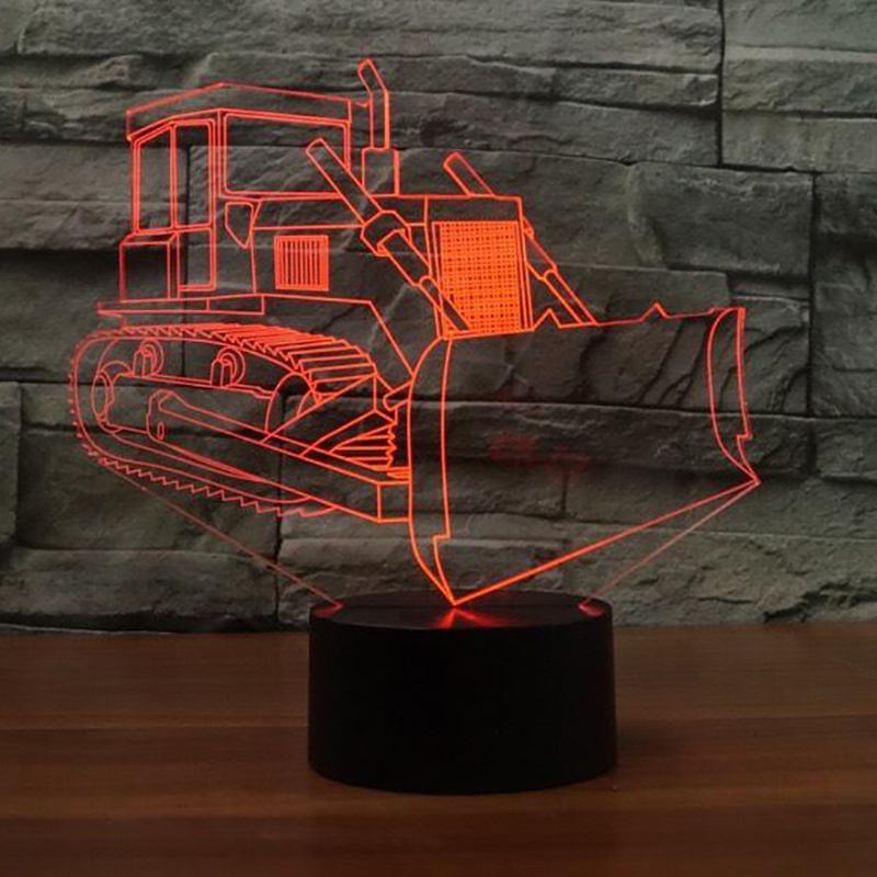 Led 3D Bulldozer Modelling Table Lamp Indoor Sleep NightLight 7 Colors Changing Visual Light Fixture Luminaria Xmas Gifts Decor