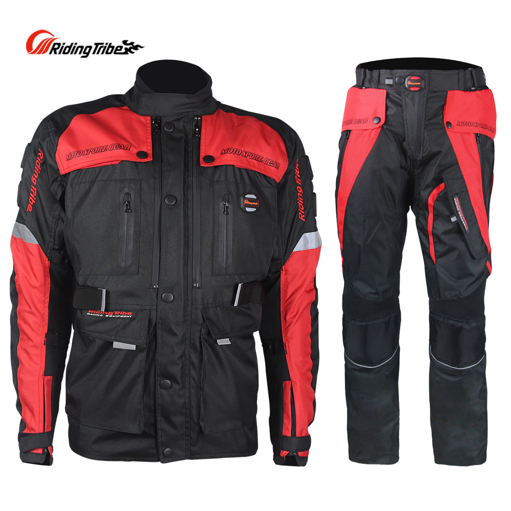 Riding Tribe Motorcycle Mens Jacket Pants Winter Waterproof Motocross Racing Suit Protector Clothes Trousers 4 Season JK-33
