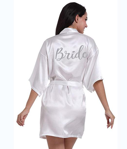 PDTY 01 Silver Writing Bridal Wedding Robes Bride Bridesmaid Maid Of Honor Women Party Robe Custom Name And Date Get Ready Robes