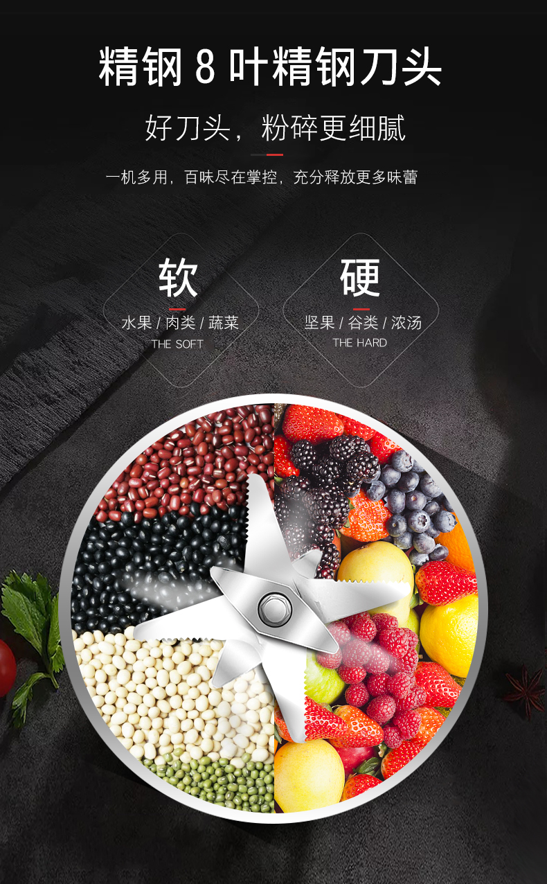 Juicer Household Small Fruit Multi-function Fruit and Vegetable Soy Milk Automatic Fried Juice Machine  Blender 6