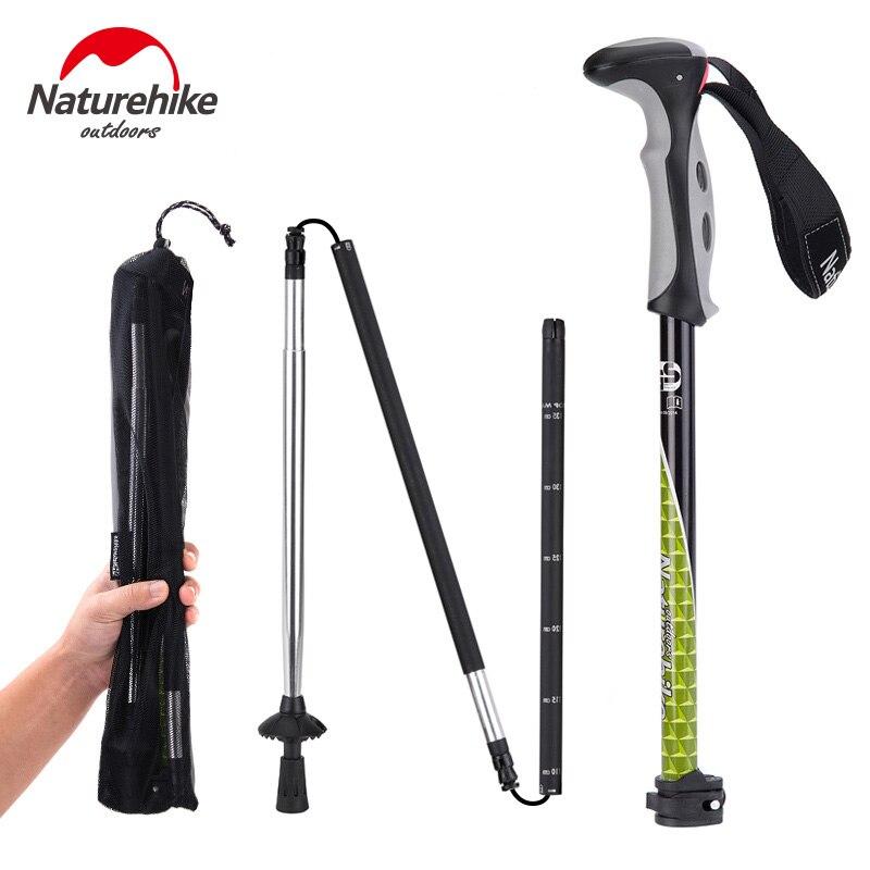24c97e765cf Naturehike Folding Hiking Cane Walking Stick Adjustable outdoor walking  trekking Pole Carbon Steel Rod 4 Section per piece pole-in Walking Sticks  from ...