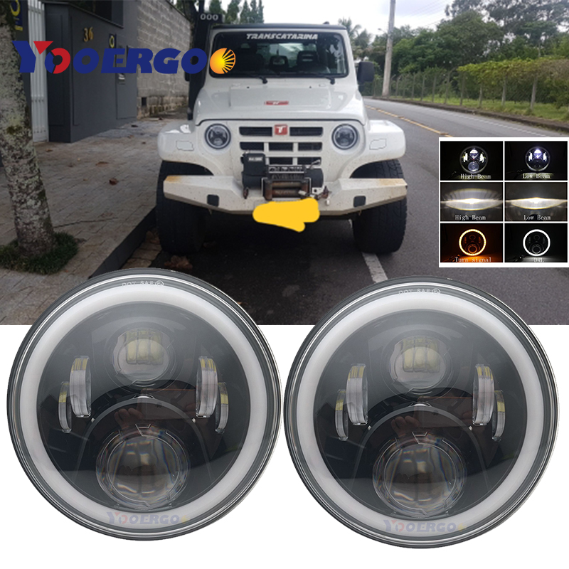 For Lada 4x4 urban Niva 7inch LED Headlamp Projector 7 LED Lamp H4 Headlamp Light 7