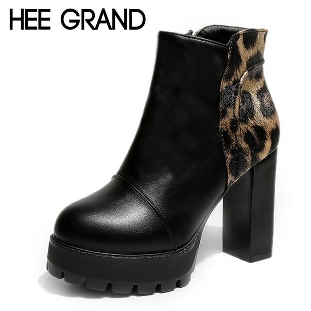 HEE GRAND/леопардовые женские пикантные ботильоны на платформе, зимние однотонные туфли-лодочки, обувь на резиновой подошве, ботинки на высоком квадратном каблуке, женская обувь, XWX6793