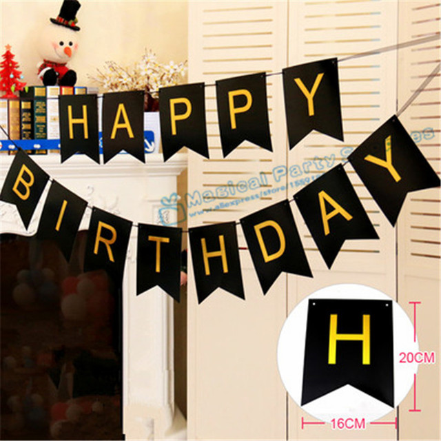 1 Set Happy Birthday Banner Black And Gold Personalized Party Decor 1st 18th 20th 30th 40th