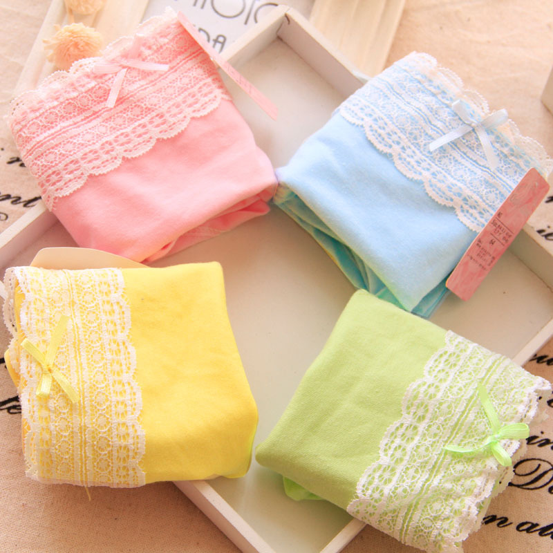 High Quality Cotton Underwear Teenage Bow Lovely Girl Panties Lady Underpants Candy Color Lace Cute Kids Briefs Age 10-20year