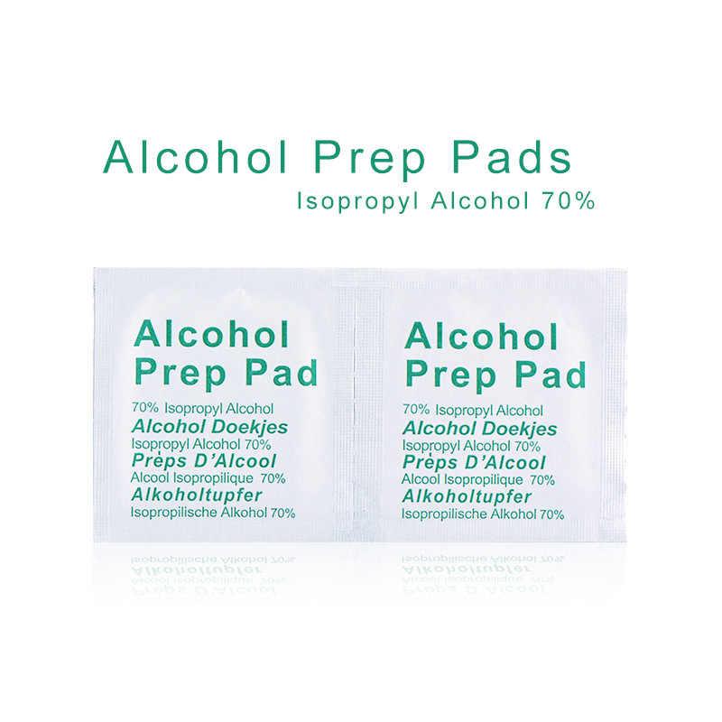 Portátil útil 100 piezas profesional torundas de algodón de toallitas húmedas con Alcohol isopropílico 70% primera ayuda a casa la piel limpiador de esterilización