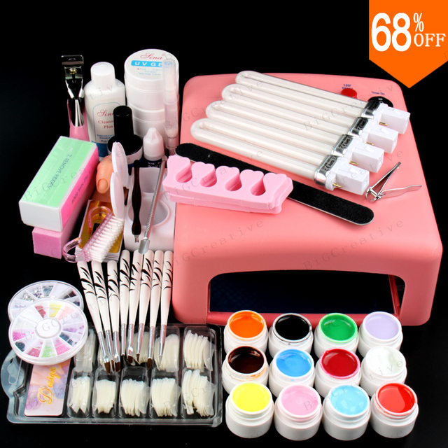 Nail Art Pro DIY Full Set JT18 Led Soak Off Uv Gel Polish Manicure File Topcoat Cleanser 36W Curing Lamp Kit Set