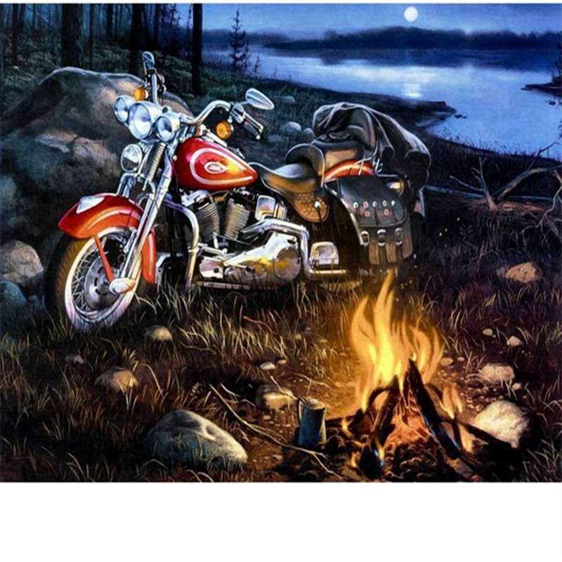 Arts,crafts & Sewing Self-Conscious Round 5d Diy Diamond Painting Cross Stitch Motorcycle Fire Full 3d Diamond Embroidery Classic Painting Rhinestones