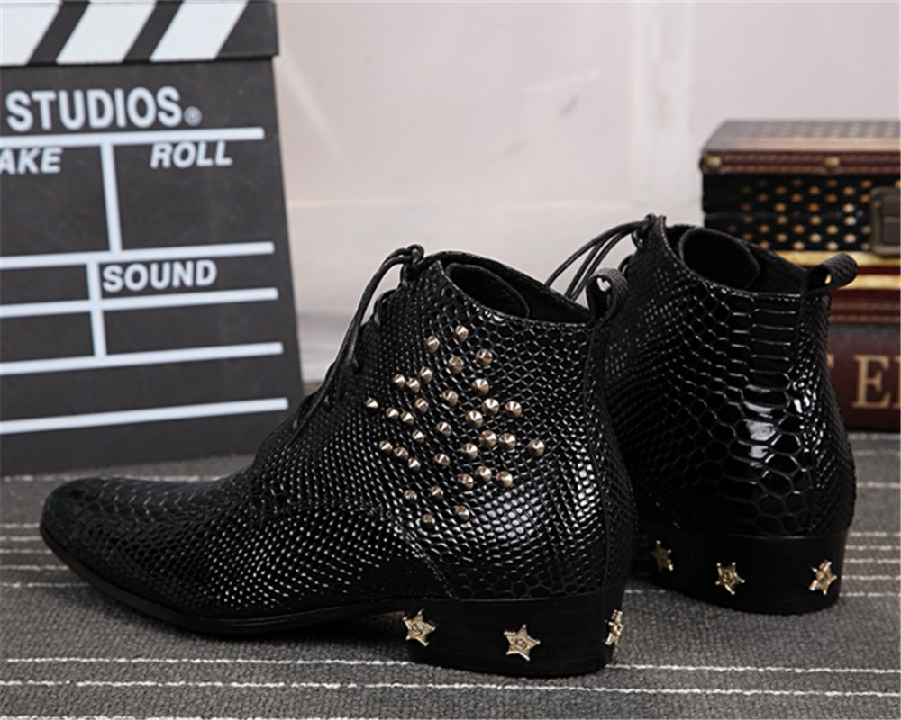 Men Shoes Lace Up Boots Crystal Decoration Pointed Toe Square Heels Zapatos Botas Mujer Hombre Zapatillas Snake Skin Ankle Boots