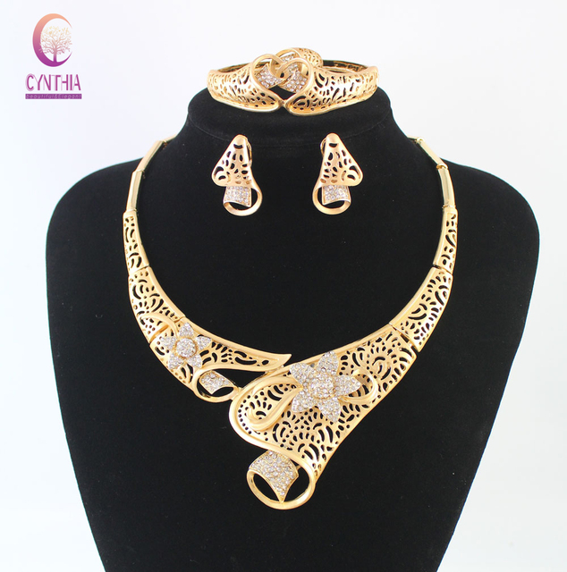 Wedding Dress Accessories Fine Necklace Set For Women African Beads Crystal Jewelry Sets Flower Pendant Party Set Gift