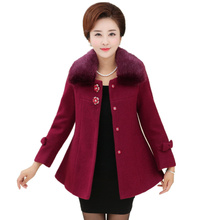 New Arrivals Winter Coat Women Plus Size Loose Wool Coat Winter Middle-aged Mothers Women 's Fur Collar Wool coat Women' s Shirt