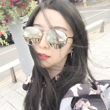 New RETRO SUNGLASSES fashion round large frame sunglasses men and womens square color film Sunglasses