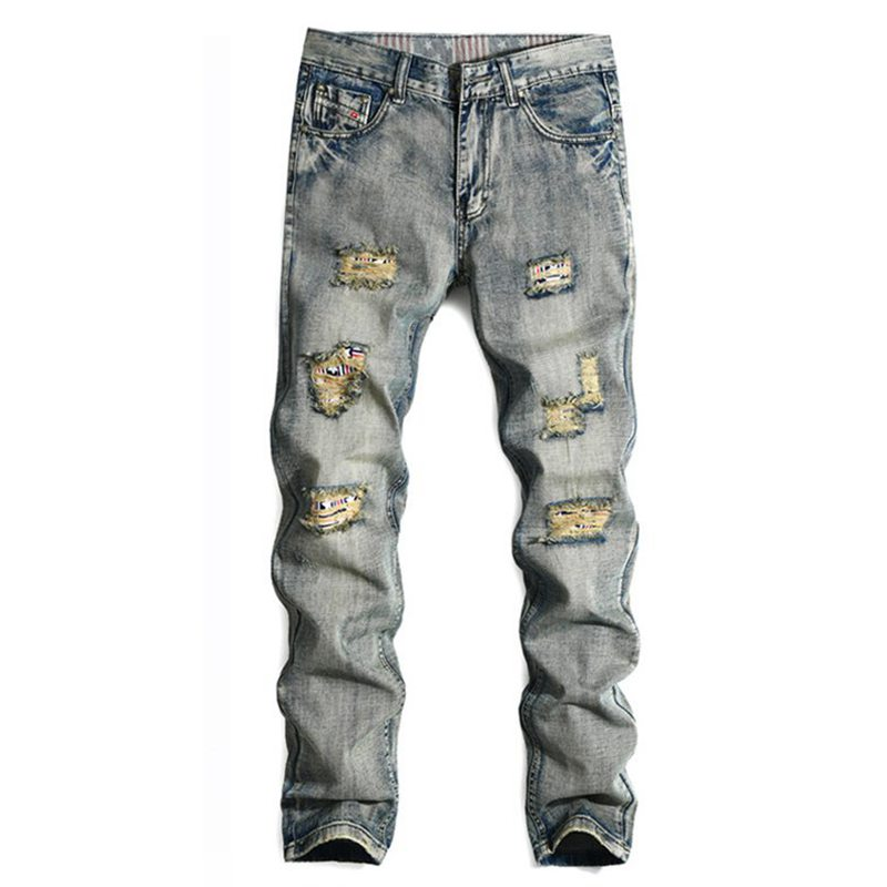Famous Brand Designer Mens Runway Distressed Slim Elastic Jeans Denim Biker Jeans Homme Hiphop Pants Washed Straight Jenas Men famous brand mens jeans straight ripped biker jeans for men zipper denim overalls men fashion designer pants blue jeans homme