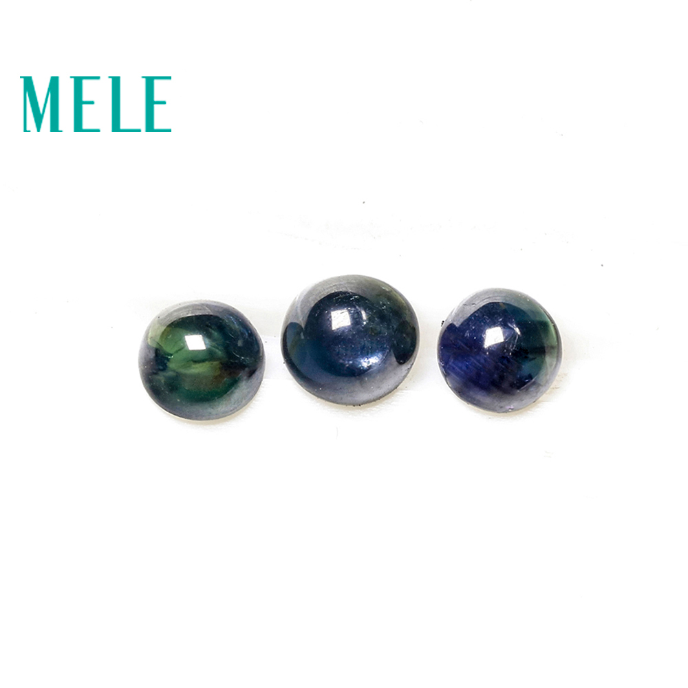 MELE Natural Blue Sapphire loose gemstone for jewelry making,3mm-5mm Round 1.9ct 3p fine jewelry DIYstones with High quality