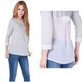 Nueva llegada de moda mujer de manga larga camisetas, nuevo mosaico arco del o-cuello camisetas Tops camisetas tallas grandes BZ661900