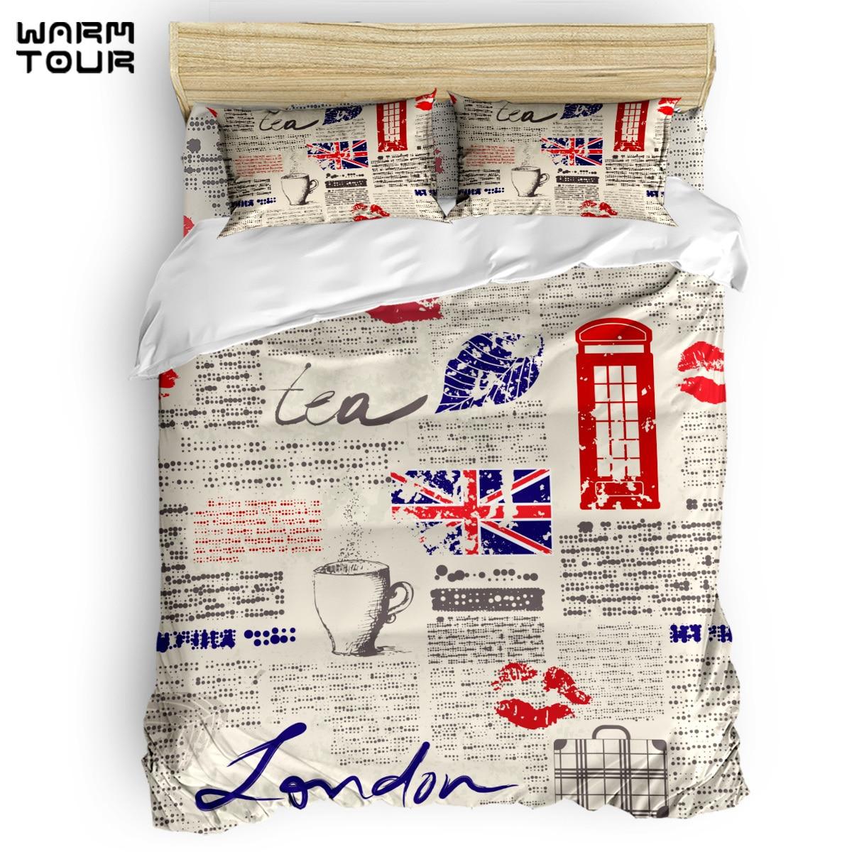 WARMTOUR  Duvet Cover  London Newspaper Duvet Cover Set  4 Piece Bedding Set For Beds DHL Shipping Methods