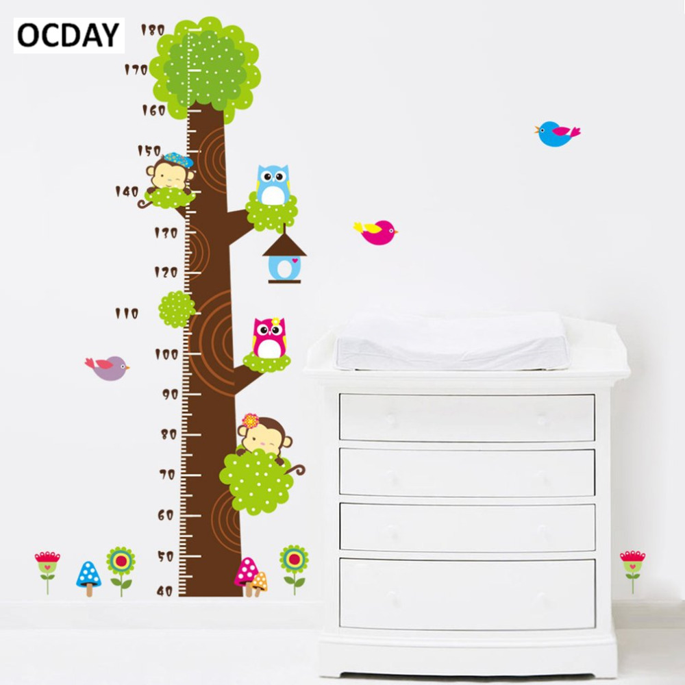 Ocday cartoon owl monkey children room trees height measure stickers for kids height chart ruler decals nursery decoration hot in stickers from toys