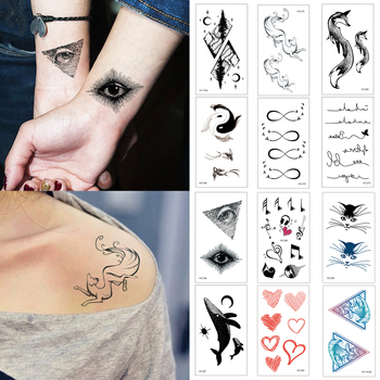 Sale Cute New design Deer Fish Black White Women Girls Body Art Tattoo Stickers Waterproof Temporary Tattoo for Children