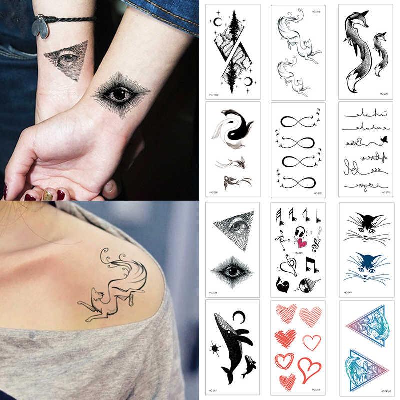 Venta lindo nuevo diseño ciervo pez negro blanco mujeres niñas cuerpo arte tatuaje pegatinas impermeable tatuaje temporal para niños
