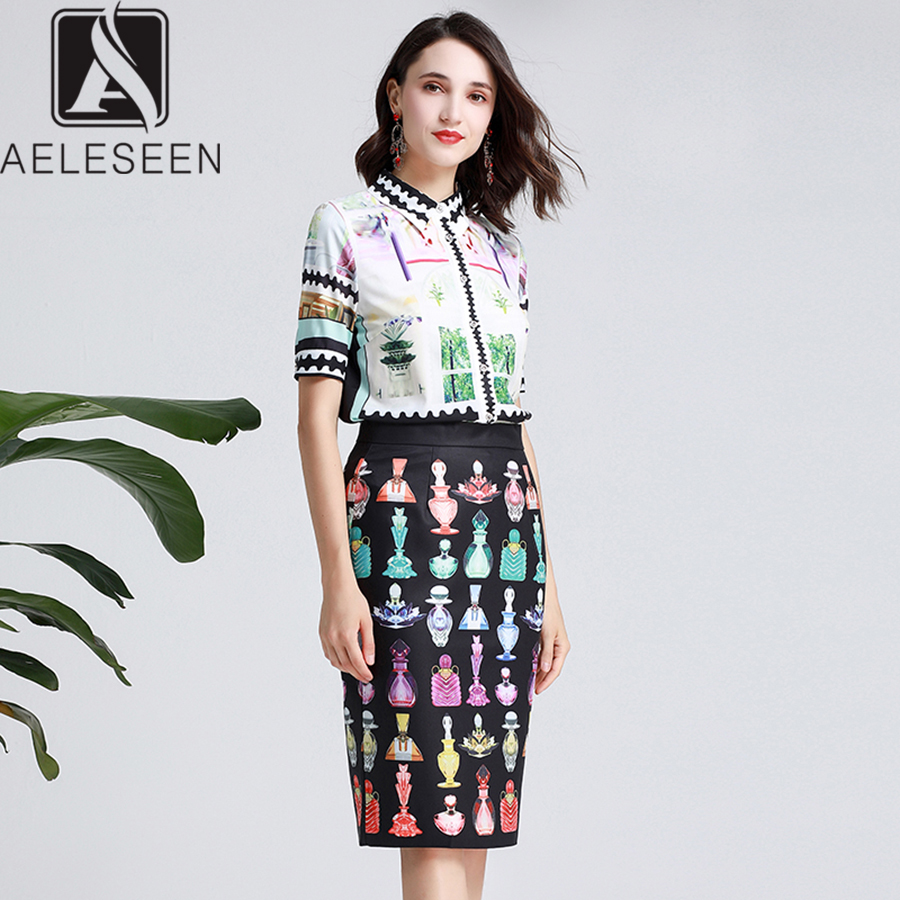AELESEEN Vintage Printed Office Laday Suit Summer 2019 White Single Breasted Turn down Collar Tops Black