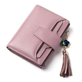 موضة محفظة جلدية حقيقية المرأة حقيبة فاخرة ماركة صغيرة امرأة محافظ الإناث الصلبة Carteira حامل بطاقات التعريف الشخصية بنات محفظة نسائية للعملات المعدنية-في محفظات من حقائب وأمتعة على