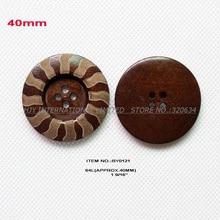 10 шт./лот) 40 мм 4 отверстия большие деревянные кнопки оптовые поставки пальто ремесла швейные кнопки-BY0121