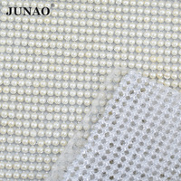 JUNAO 45*120cm White Pearl Aluminum Mesh Hotfix Rhinestones Trim Sewing Pearls Beads Applique Silver Base Banding Crystal Rolls