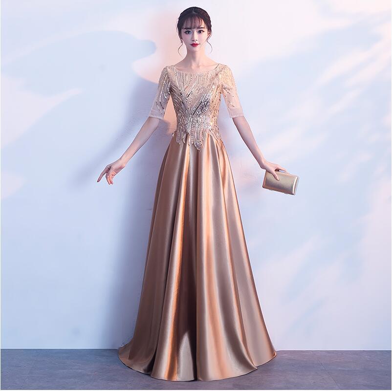 A Line Sequins Golden   Cocktail     Dress   Satin Long Prom Party   Dresses   Evening Gown Formal   Dress   Women Elegant Robe De Soiree