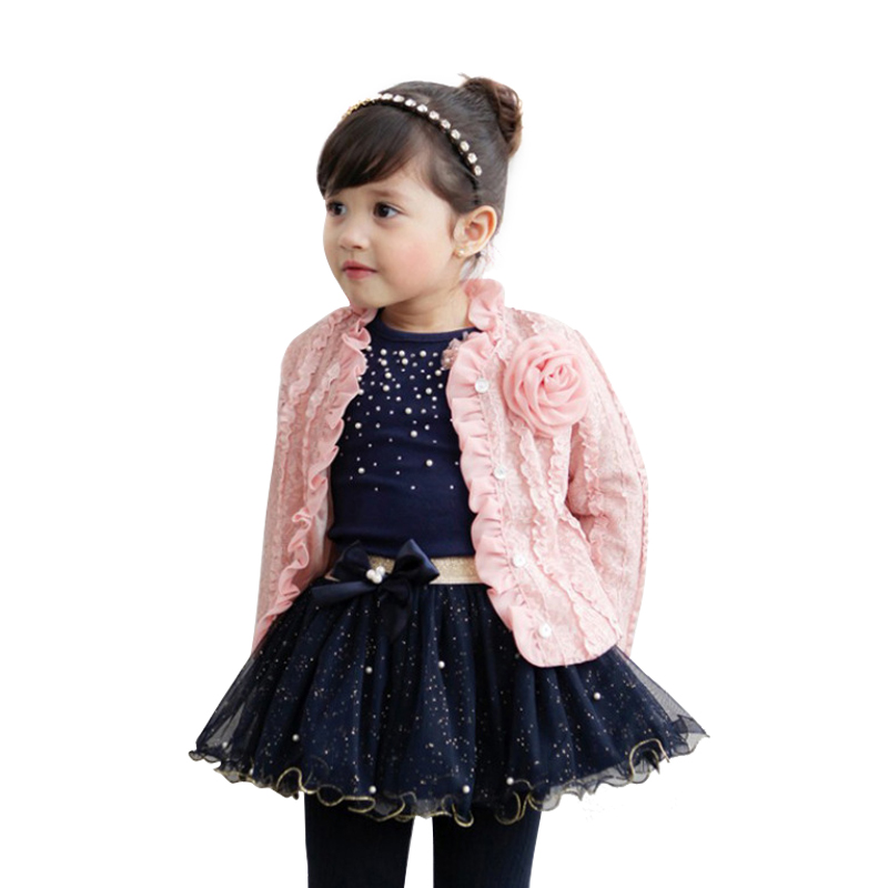 kids winter clothes for 2 - 8 yrs baby girls fashion 3pcs children clothing set coat+sequins t shirt+skirt 2018 autumn outfits