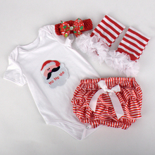 4PCS/summer Christmas New Year layette newborn baby clothes girl bodysuit 1st birthday dress+Headband+shorts+Leggings BC1328