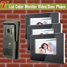 On sale wired 7 inch monitor video door phone intercom system Video Intercom door bell kit night vision waterproof camera 3-monitor