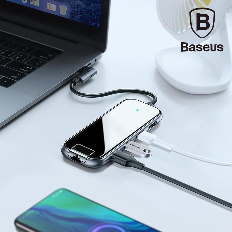 Baseus Multi USB HUB Type C vers HDMI RJ45 USB 3.0 USB3.0 adaptateur secteur pour MacBook Pro Air Dock 3 ports USB-C USB HUB séparateur Hab