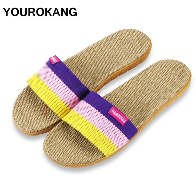 YOUROKANG Couple Home Slippers Indoor Floor Flax Slippers Slides Unisex Antiskid Women & Men Shoes Mixed Color DropshippingYOUROKANG Couple Home Slippers Indoor Floor Flax Slippers Slides Unisex Antiskid Women & Men Shoes Mixed Color Dropshipping