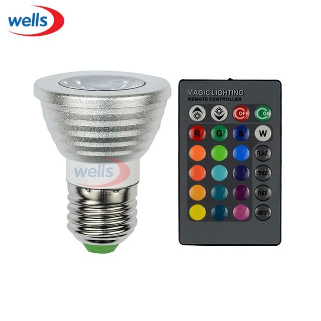 E27 RGB 3 W LED Spotlight Lamp Bulb com Controle Remoto