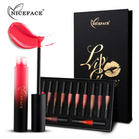 NICEFACE 12pcs Set Liquid Matte Lipstick Sexy Rose Red Lip Gloss Waterproof Long Lasting Elegant Nude