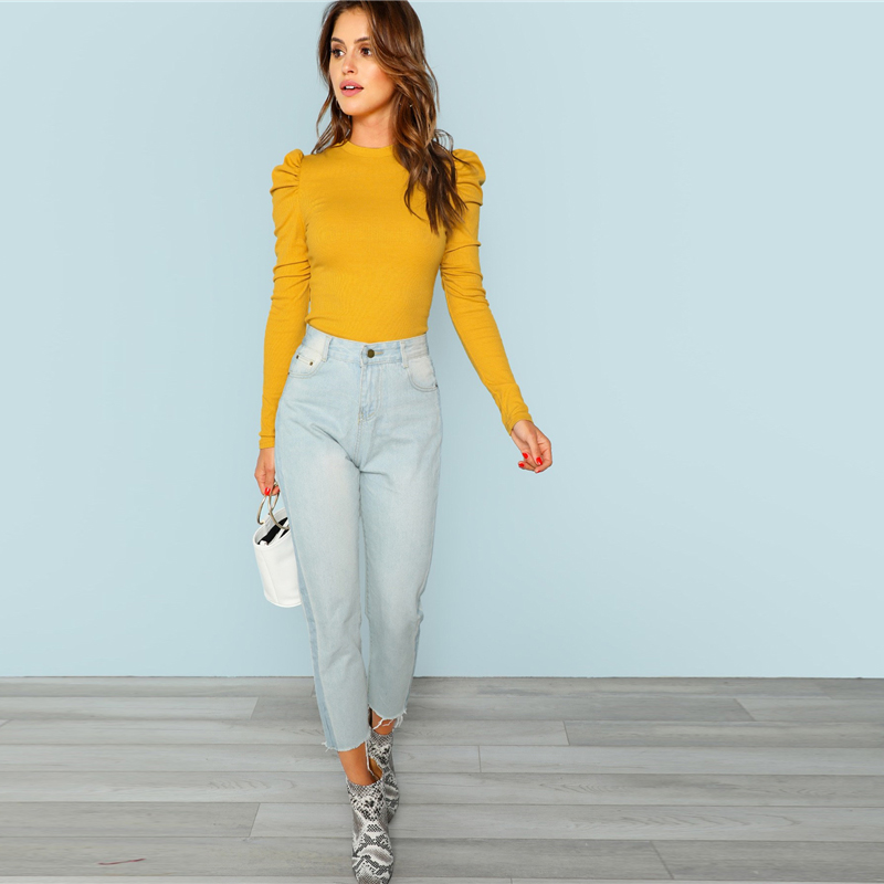Camiseta manga puff amarilla elegante de oficina Paraíso de la Moda | PdM
