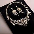 Envío gratis aleación rhinestone de la perla de novia hechos a mano joyería de la boda conjuntos de collar aretes collar