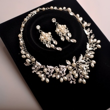 Free shipping alloy pearl rhinestone handmade bridal wedding jewelry sets necklace earring set necklace set