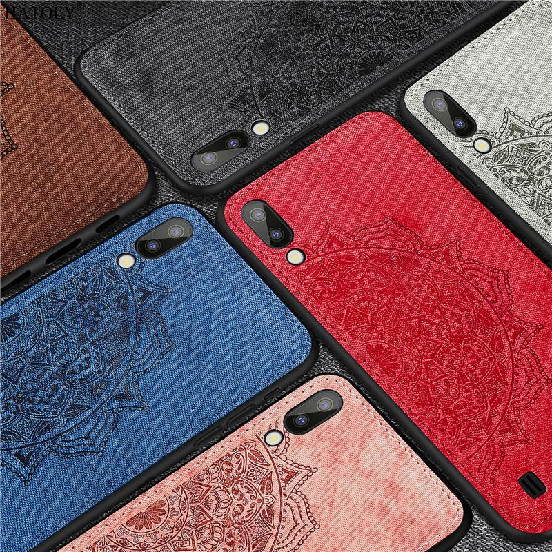 For Samsung Galaxy M10 Case Silicone Rubber Shell Cloth Texture Phone Cover for