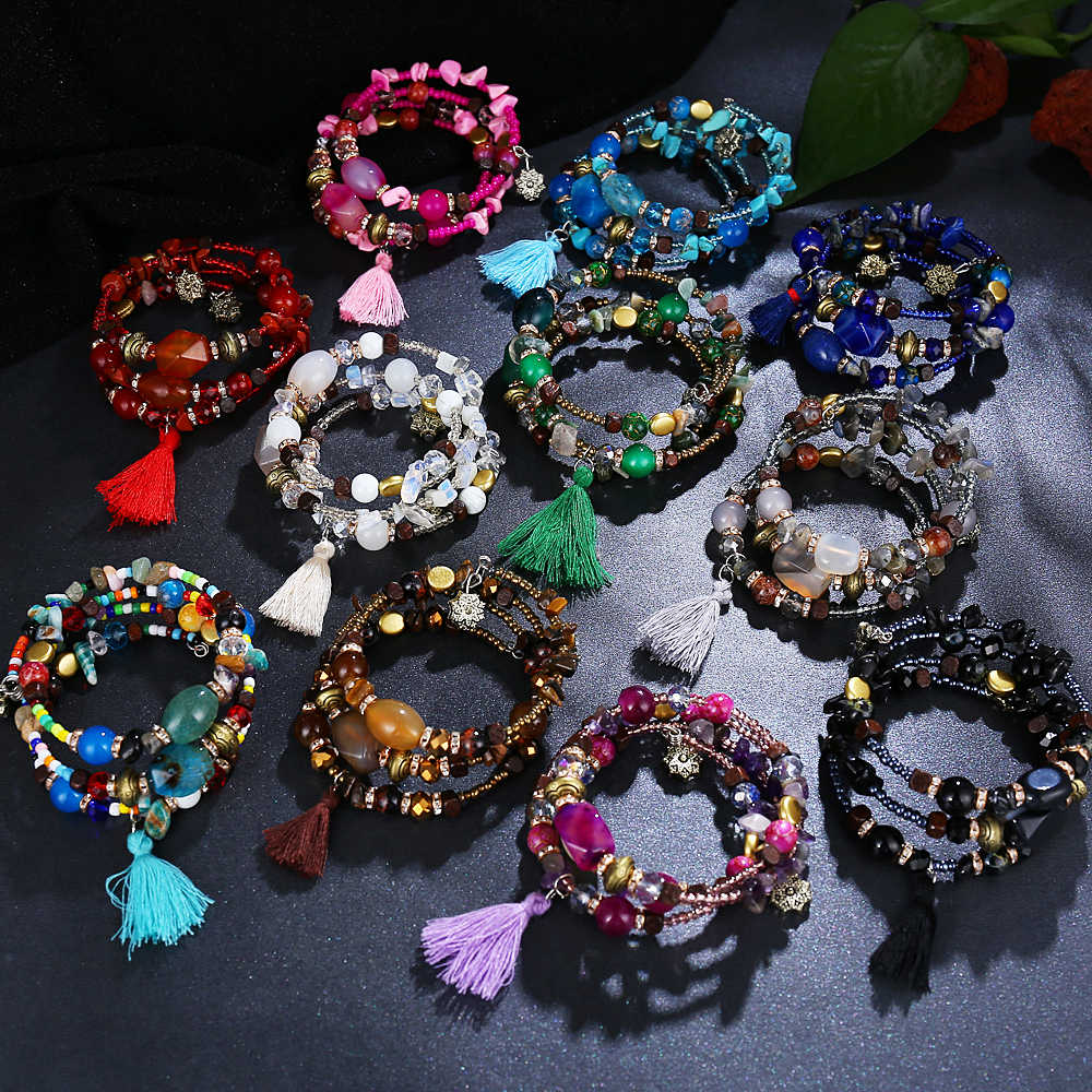 Vintage Tassel Resin Stone Charm Bracelets For Women Pulsera Ethnic Multilayer Beads Bracelet Bohemian Jewelry Gifts 2018