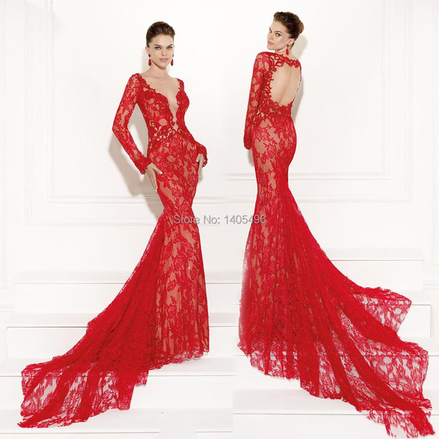 c6e18a40f31 2015 Tarik Ediz Red Lace Mermaid Evening Gowns Long Sleeve Backless Prom  Dresses Sheer Bateau Opev
