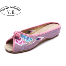 Vintage Embroidery Shoes 2017 summer new linen chassis Chinese embroidered Old BeiJing flowers sandals slippers size 35-41