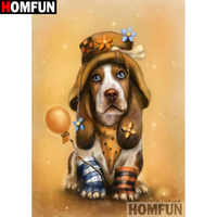 """HOMFUN Full Square/Round Drill 5D DIY Diamond Painting """"Animal dog"""" 3D Embroidery Cross Stitch 5D Home Decor gift A17254"""