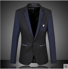 L/6Xl Men'S Mixed Color Casual Suits Stitching Dot Single Button Male Blazers Long Sleeves Suit Jacket Blaser Masculino S1245