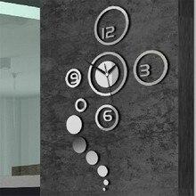 20 TEILE PAKET Neue Ankunft DIY 3D Home Moderne Dekoration Kristallspiegel Wohnzimmer Wanduhr Silber Farbe Grosshandel
