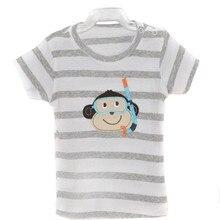 Модные футболки с короткими рукавами для маленьких мальчиков и девочек, хлопковые футболки для детей, 5 шт./партия, 3 мес.-24 мес