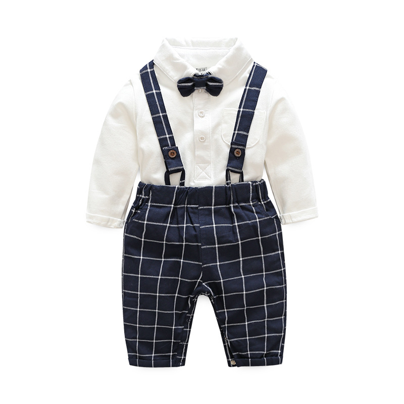 baby boy clothes baby clothing suit gentleman Style bow tie + plaid shirt + Bib baby boy clothing set fashion baby boy gentleman clothing sets suit newborn baby bow tie plaid shirt jeans pants set cotton baby clothes outfits