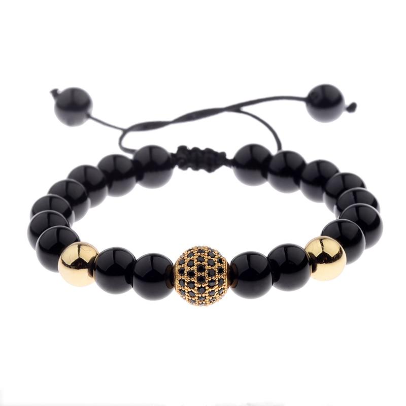 DOUVEI Round Black CZ Zircon Pave Lava Weaving Bracelet Men Beads Weaving Bracelet Homme Adjustable Dropshipping ABL005