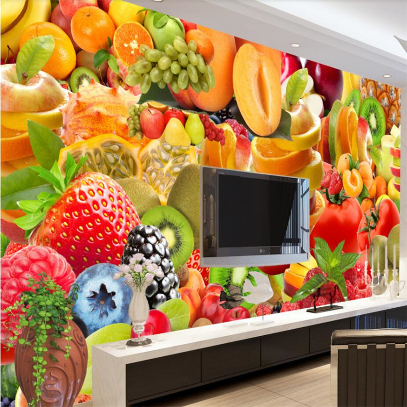 beibehang Simple and diverse fruit TV background wall custom large mural green silk cloth wallpaper papel de parede para quarto