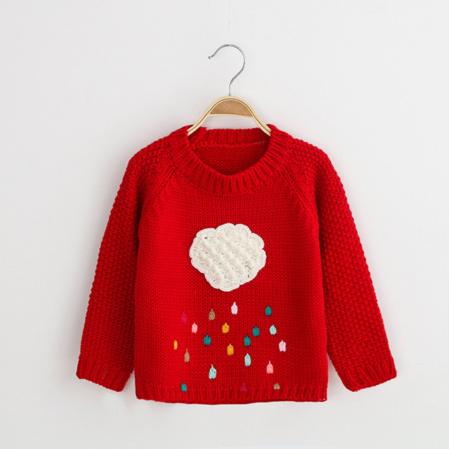2016 Cloud Girls Autumn Wear Girls Winter Sweater Children Cardigan Girls Sweater Winter Warm Cute Kids Outerwear